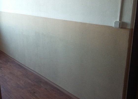 Obroušení a výmalba jedné stěny.