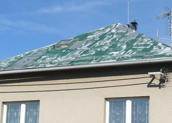 Hydroizolační nátěr části plechové střechy