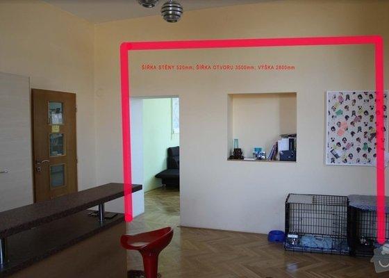 Osazení ocelových profilů (nový překlad) a vybourání otvoru mezi místnostmi.