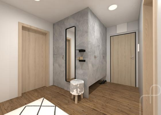 Návrh interiéru panelového bytu (koupelna, wc, předsíň)