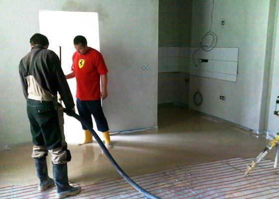 Vyliti anhydritove podlahy 42m2, byt, 3 patro
