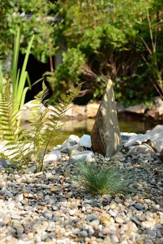 Revitalizace jezírka, skalky a záhonů v horní části zahrady: soliterni_kamen_u_jezirka