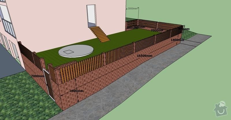 Stavební práce, opěrná zeď a oplocení pozemku: BD10-3.1-5