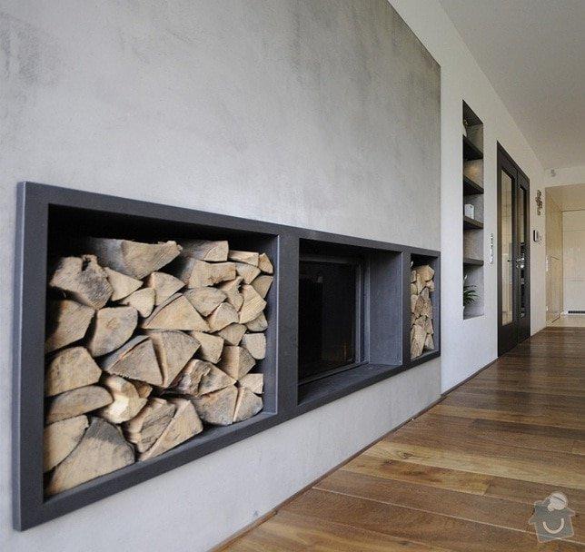 Imitace betonu na stěny (kuchyň, koupelny, krb): krb