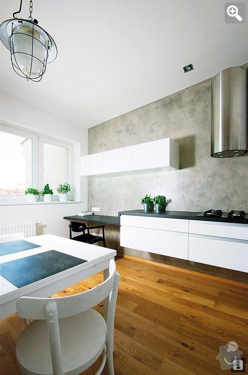 Imitace betonu na stěny (kuchyň, koupelny, krb): kuchyn