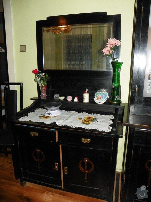 Ošetření starožitného nábytku jídelny a ložnice x červotočům, vč.renovace: zrcadlo