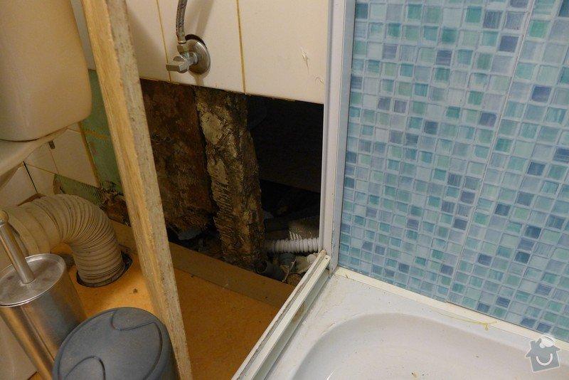 Instalace dvou sprchových koutů, dozdění příčky, částečně i obklady: P1020297