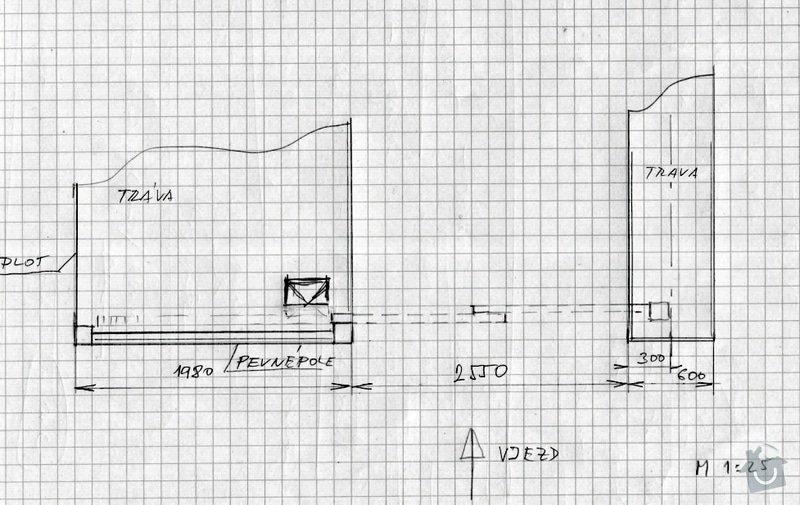Vjezdová vrata s pohonem (shrnovací do pevné části plotu): nakres