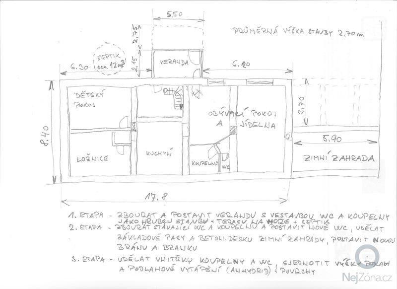 Rekonstrukce RD a dokončení drenáže + nový septik: Nacrt_rekonstrukce_001
