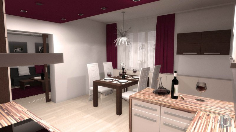 Návrh interiéru kuchyně a obývacího pokoje: k_o_4