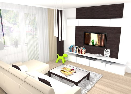 Návrh a vizualizace kuchyně a obývacího pokoje
