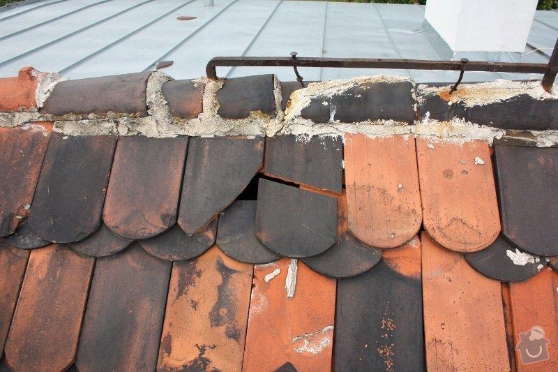 Oprava komínu + provizorní oprava střechy: strecha