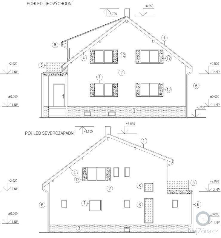 Projekt rekonstrukce rodinného domu: Pohledy