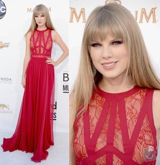 Ušití dlouhých večerních šatů podle modelu návrháře: taylor-swift-2012-billboard-music-awards-elie-saab-red-dress