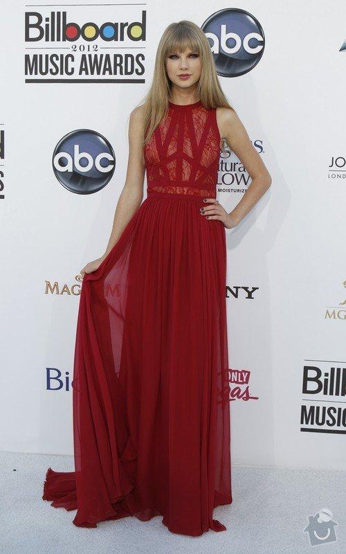 Ušití dlouhých večerních šatů podle modelu návrháře: 275924-singer-taylor-swift-arrives-at-the-2012-billboard-music-awards-in-las-