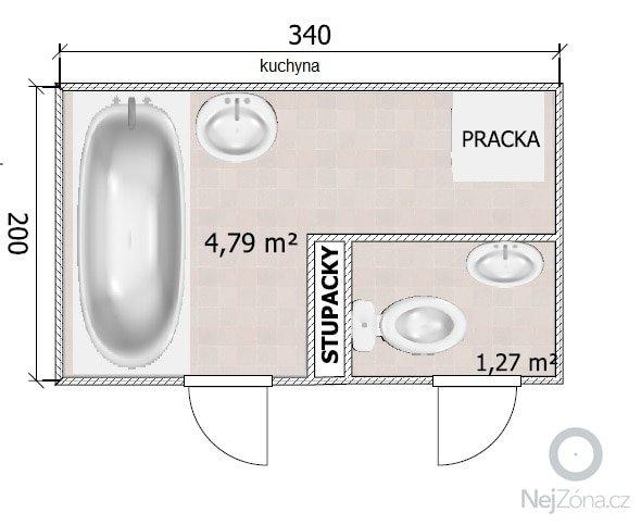 Rekonstrukcia bytu: kupelna_WC_podorys