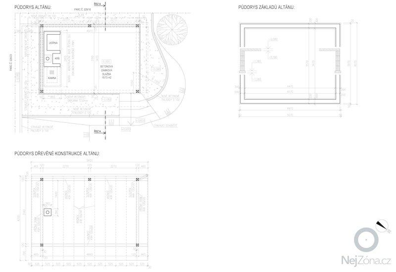 Stavba zahradního altánu s pevným krbem.: pudorysy