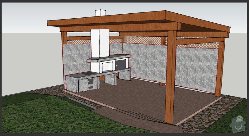 Stavba zahradního altánu s pevným krbem.: upraveno01_POHLED_102_zed