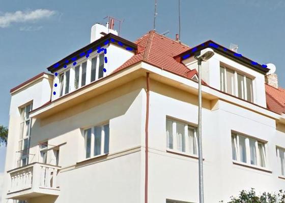 Nátěr žlabů a plechových částí střechy a oprava komínů
