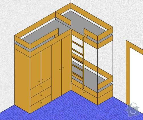 Vytvoření trojpostele se skříní na míru dle přiloženého obrázku: postel