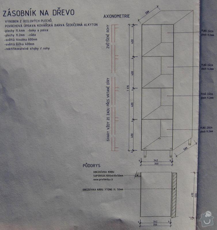 Výroba a dodávka ocelového zásobníku na dřevo: zasobnik_vykres