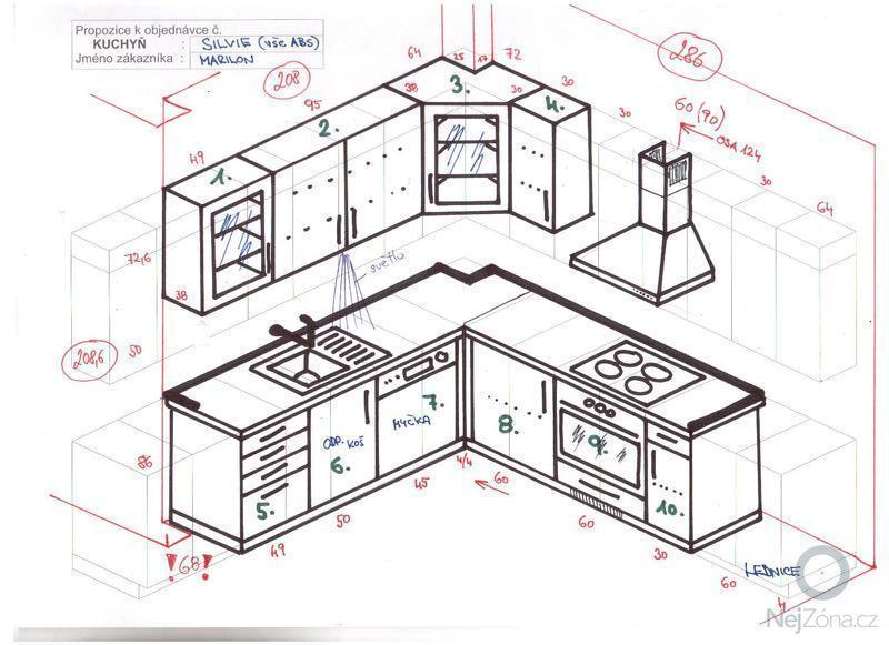 Kuchyňská linka: nakres