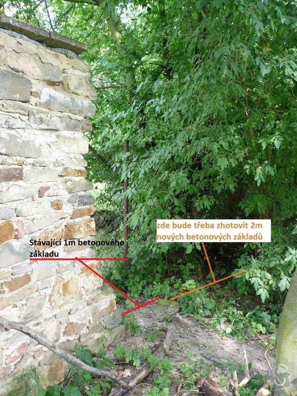 Dostavba 3m kamenné zdi oplocení, oprava 2 cihlových sloupků oplocení.: zed_15-2