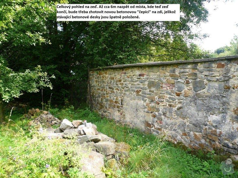 Dostavba 3m kamenné zdi oplocení, oprava 2 cihlových sloupků oplocení.: zed_14-2