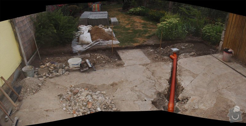 Pokládka dlažby 25m2 a zednické práce: dvorek