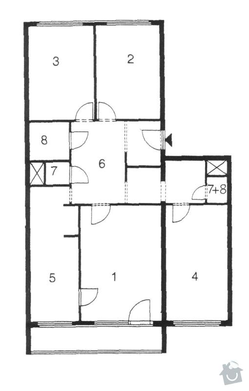 Stavební úpravy v bytě, rekonstrukce 2 koupelen: planek_bytu_cca
