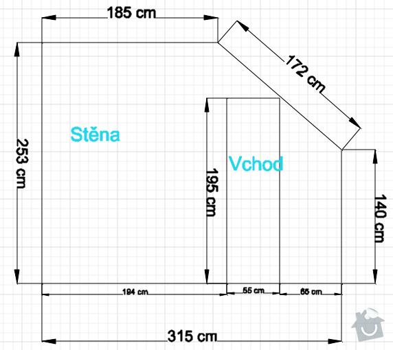 Osazení střešních oken sádrokartonem + 1 příčka: vykres