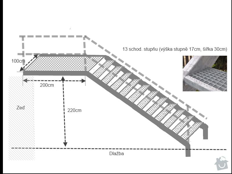 Venkovní pozinkované ocelové schodiště: Venkovni_schody_Marcisak_draft