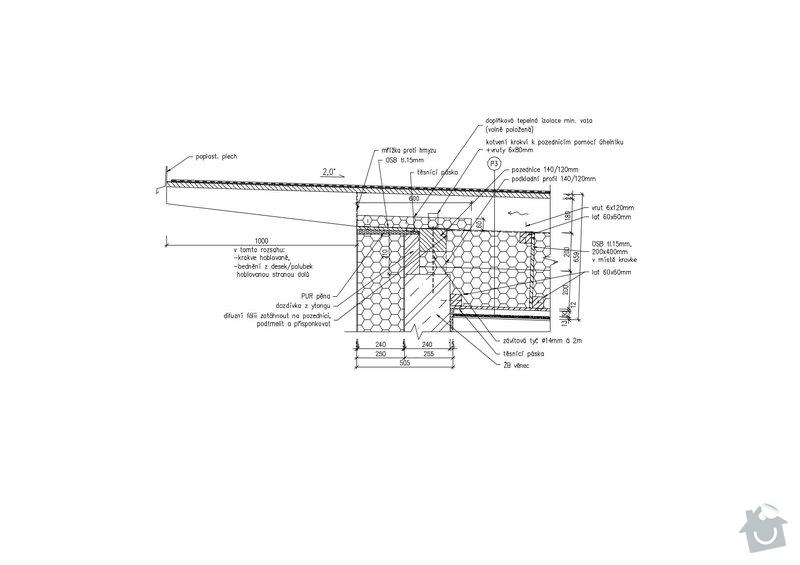 Pultová střecha 2°: F12_Detail_navaznosti_strechy_na_stenu