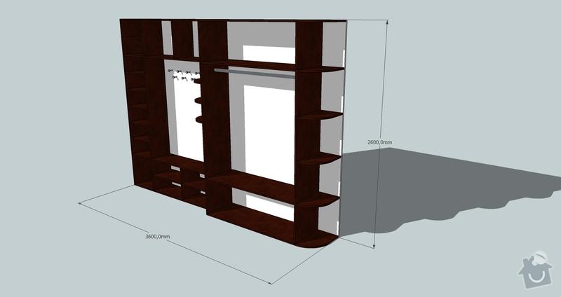 Výroba a montáž skříně a předsíňové stěny se šatní skříní na míru: predsin2