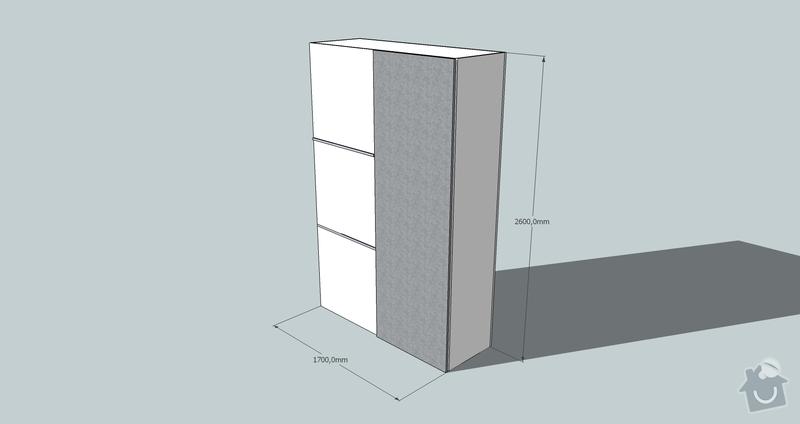 Výroba a montáž skříně a předsíňové stěny se šatní skříní na míru: skrin1