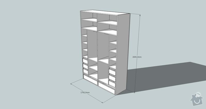 Výroba a montáž skříně a předsíňové stěny se šatní skříní na míru: skrin2