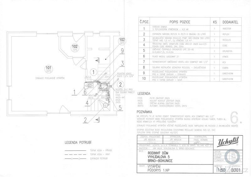Instalace topného systému: B301