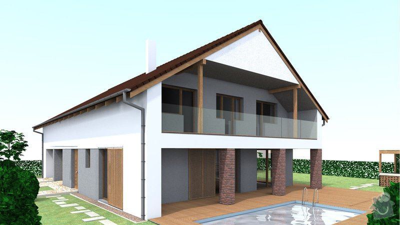 Dokončení střechy a štítů rod.domu ve fázi hrubé stavby: VC_3