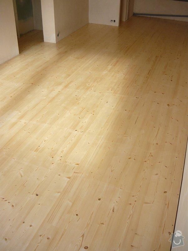 Položení smrkové palubkové podlahy cca 40m2: podlaha