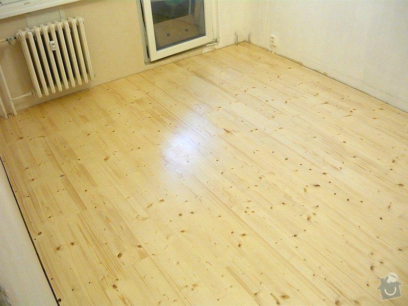Položení smrkové palubkové podlahy cca 40m2: podlaha11