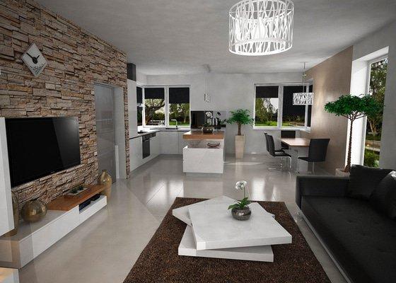 Vizualizace kuchyně s obývacím pokojem