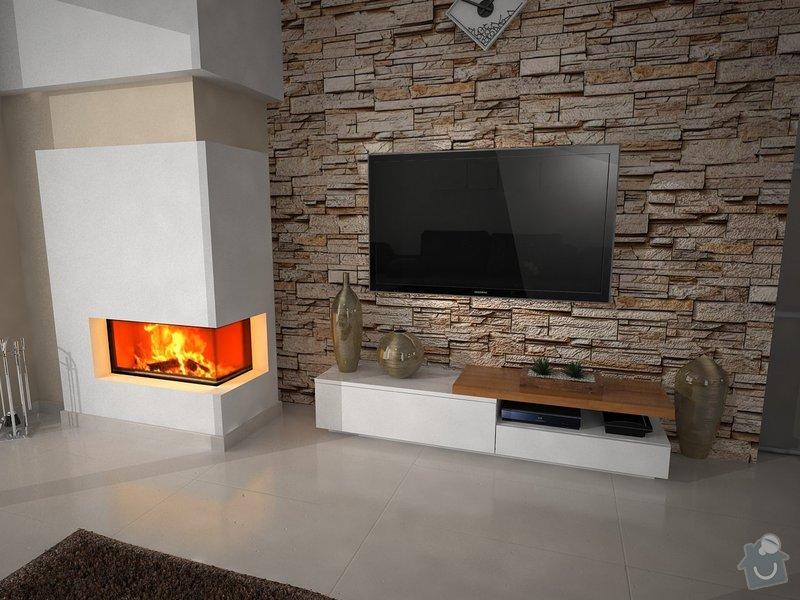 Vizualizace kuchyně s obývacím pokojem: zame4