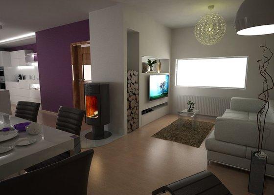 Návrh obývacího pokoje s kuchyní