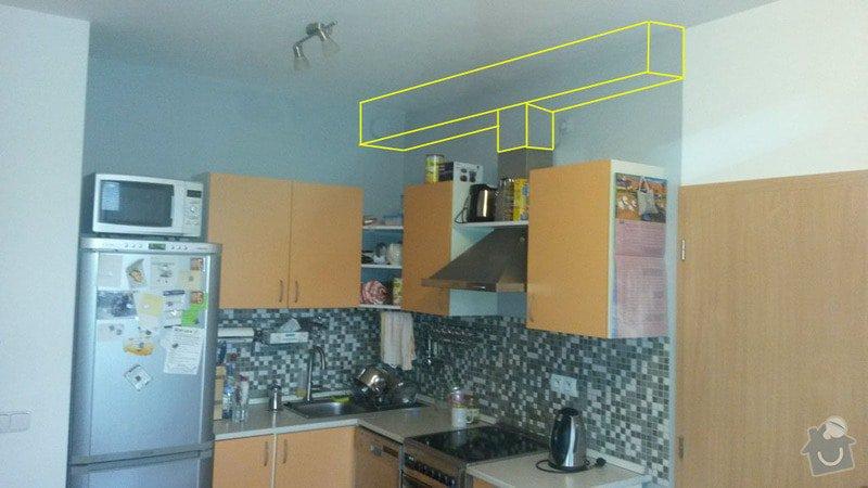 Připojení digestoře na odtah a zakrytí sádrokartonem: kuchyne