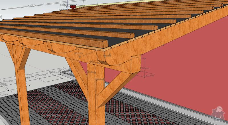Konstrukce garazoveho stani - pristresek: stani14x14_rozmery1