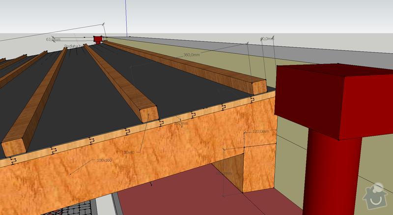 Konstrukce garazoveho stani - pristresek: stani14x14_rozmery2