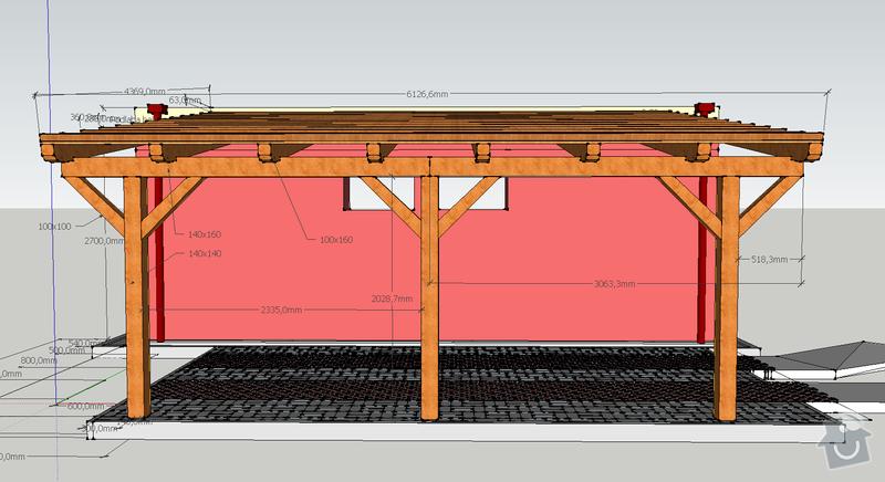 Konstrukce garazoveho stani - pristresek: stani14x14_rozmery3