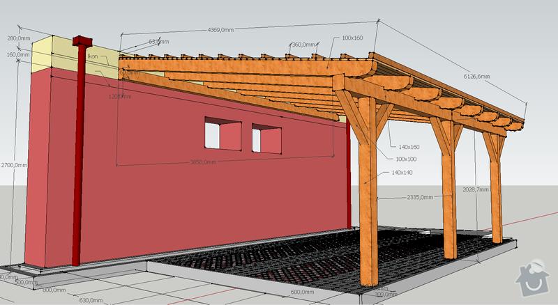 Konstrukce garazoveho stani - pristresek: stani14x14_rozmery4