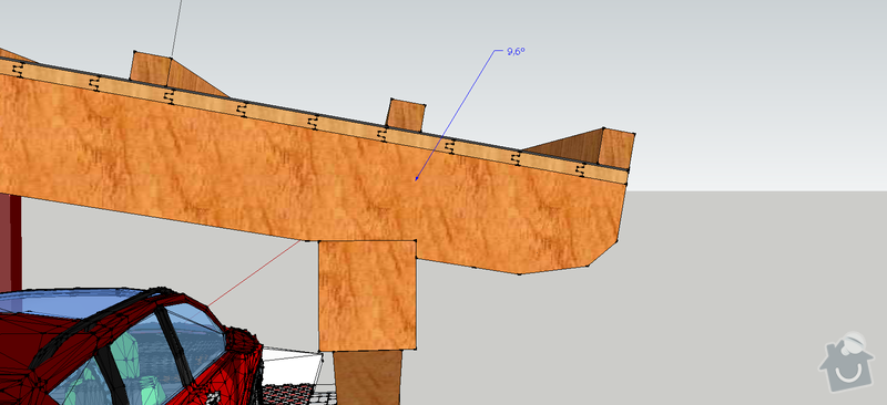 Konstrukce garazoveho stani - pristresek: stani14x14_rozmery5