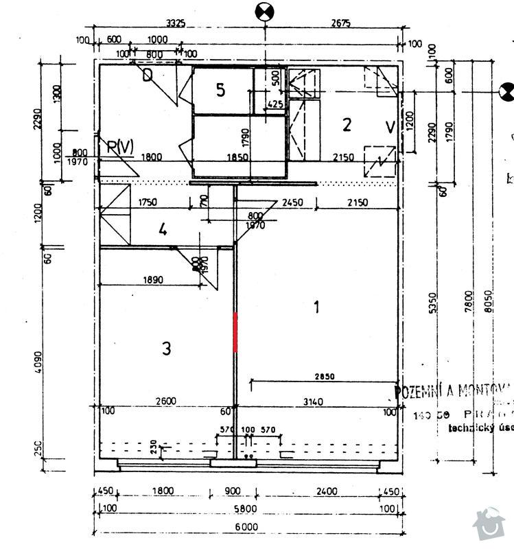 Přesunutí dveří v příčce, panelový byt: plan